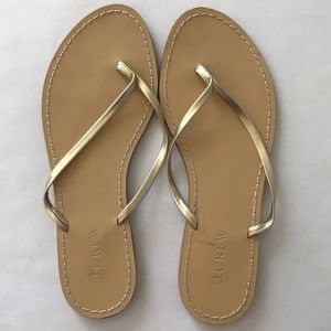 J. Crew gold leather thong sandals. Size (8).